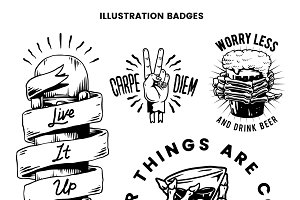 Cool retro motivational badges vecto