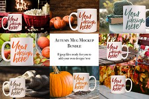 Autumn mug bundle - 8 mockups