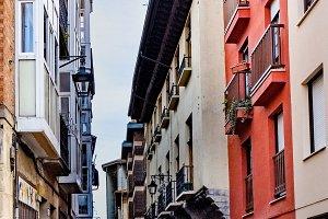 Narrow cobblestone street with