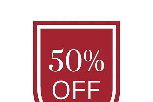 50 percent off sale badge vector