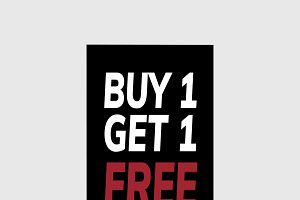 Buy one get one free promotional tag