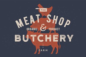 Poster for butchery, meat shop. Cow
