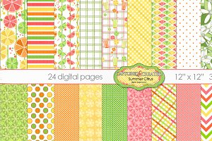 24 Summer Citrus Digital Papers