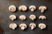Sliced Mushrooms on Baking Sheet