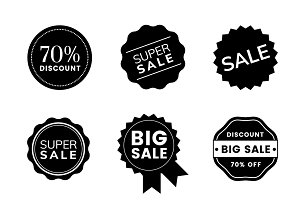 Set of promotion badge vectors