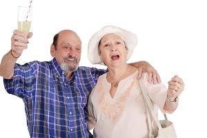 Eldery tourist couple proposing a to