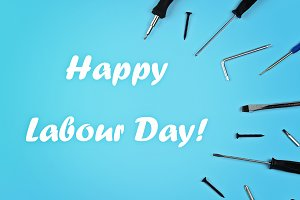 Labour day. Set of various tools on