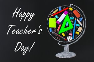 Happy Teachers Day. chalk-drawn glob