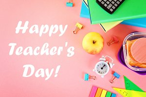 Happy Teachers Day. School and offic
