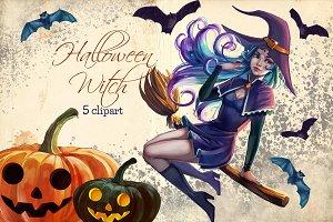 Halloween witch clipart, pumpkin