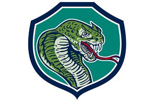 Cobra Viper Snake Shield Retro