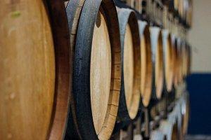 Wall of Wine Barrels