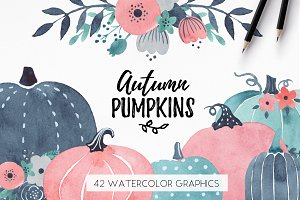 Watercolor Fall Pumpkins Clipart