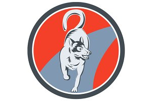 Huskie Sled Dog Circle Retro