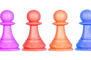 The color pawns, chess pieces