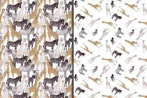 Giraffe and Zebra Seamless Patterns