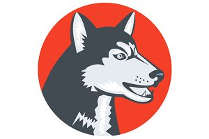 Siberian Husky Dog Head Circle Retro