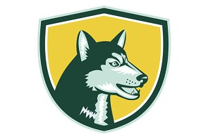Siberian Husky Dog Head Crest Retro
