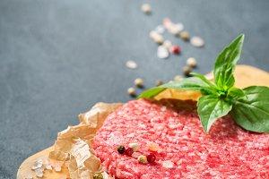 Homemade raw organic minced beef mea