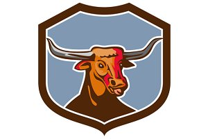 Texas Longhorn Red Bull Shield Retro