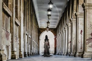 Ghost of a girl in a hallway.