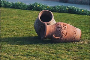 Two Clay amphora jug, old ceramic
