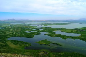 Landscape of Myvatn lake