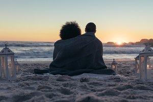 Couple admiring the sunset