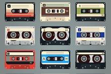Vector retro audio cassettes
