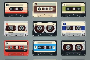 Vector retro audio cassettes