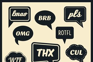 Simple abbreviations speech bubbles