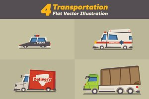 4 Transportation Vector Illustration