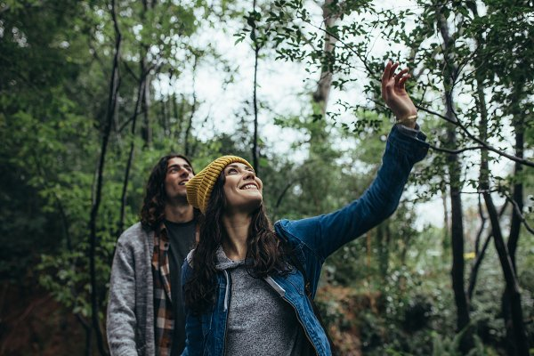 People Stock Photos: Jacob Lund - Couple looking up at the trees