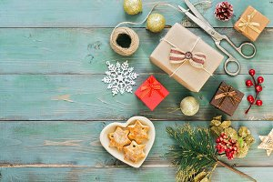 Christmas background, gifts, cookies