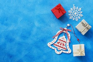 Christmas background, bell, gifts