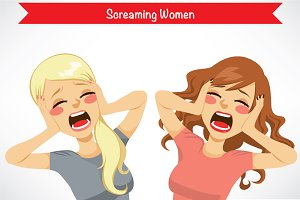 Two Women Screaming Scared