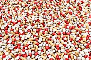 3d Red medical pills