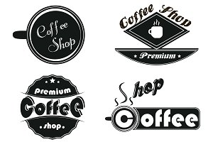 Caffee icons set on a white backgrou
