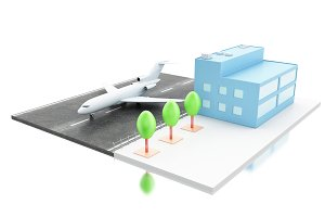 3d Airport terminal and airplane.