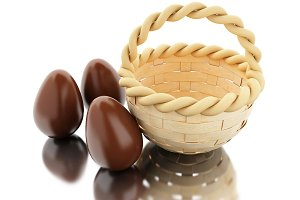 3d Easter eggs in a basket