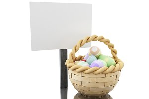 3d Easter eggs in a basket with empt