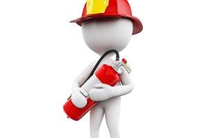 3d Fireman with helment and extingui