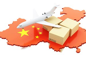 3d China map with cardboard boxes an