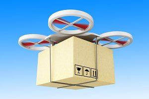 3D Drone carrying a cardboard box.