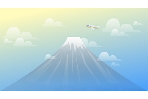 Landscape Mountain Fuji View with