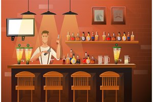 Vector banner of interior with bar