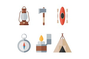 Vector summer camp icons