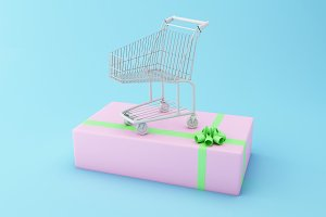 3d Shopping cart on a big gift box.