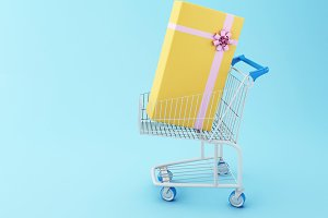 3d Shopping cart and a gift box.