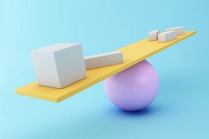 3d Different geometric shapes balanc